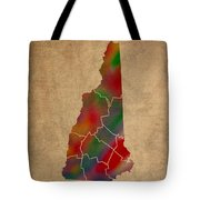 Counties Of New Hampshire Colorful Vibrant Watercolor State Map On Old Canvas Tote Bag