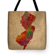 Counties Of New Jersey Colorful Vibrant Watercolor State Map On Old Canvas Tote Bag