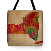 Counties Of New York Colorful Vibrant Watercolor State Map On Old Canvas Tote Bag