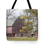 Country Barn With Pine Tree Tote Bag