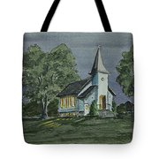 Country Church On A Summer Night Tote Bag