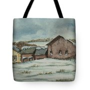 Country Farm In Winter Tote Bag