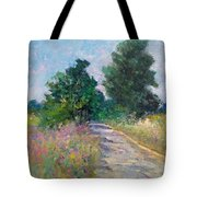 Country Path With Sunflowers Tote Bag
