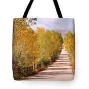 Country Road Autumn Fall Foliage View Of The Twin Peaks Tote Bag