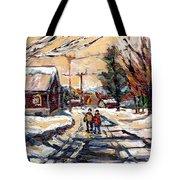Purchase Best Original Quebec Winter Scene Paintings Achetez  Paysage De Quebec Cspandau Art Tote Bag