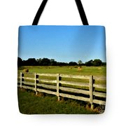 Country Scene With Field And Hay Bales Tote Bag