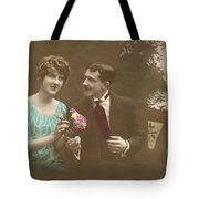 Couple At Beach Colorized Tote Bag