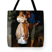 Couple Courting Tote Bag