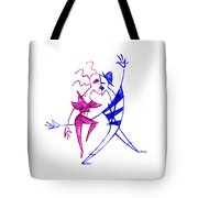 Couple In Love Dancing - Funny Illustration Tote Bag