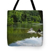 Couple Relaxing By The Shenandoah River At Harpers Ferry Tote Bag