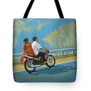 Couple Ride On Bike Tote Bag