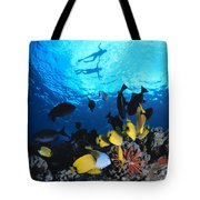 Couple Snorkels At Surfac Tote Bag