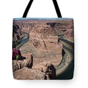 Couple Viewing Horseshoe Bend High Up Edge  Tote Bag