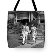 Couple Walking Out Of House, C.1930s Tote Bag