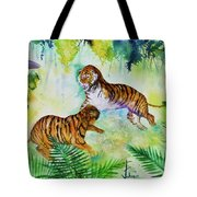 Courting Tigers. Tote Bag by Larry  Johnson
