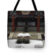 Courtyard In The Snow Tote Bag