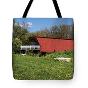 Covered Bridge Across The River Tote Bag