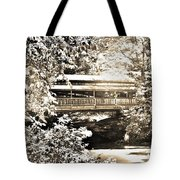 Covered Bridge At Lanterman's Mill Black And White Tote Bag