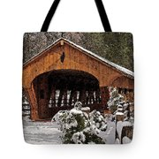 Covered Bridge At Olmsted Falls-winter-2 Tote Bag