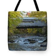 Covered Bridge Over Brown River Tote Bag