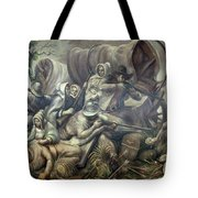 Covered Wagon Attacked By Indians Tote Bag