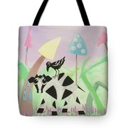 Cow And Crow In The Land Of Mushrooms Tote Bag