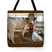 Cow And Little Calf Tote Bag