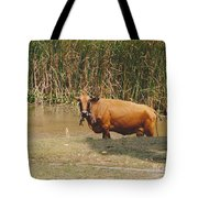 Cow In The Field Tote Bag