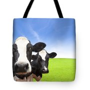 Cow On Green Grass Field Tote Bag
