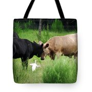 Cow Playing Head Games Tote Bag
