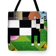 Cow Squared With Barn Left Tote Bag