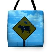 Cow With Flying Saucer Tote Bag