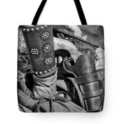 Cowboy And Six Shooter Bw Tote Bag
