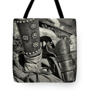 Cowboy And Six Shooter Bw Sepia Tote Bag