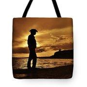 Cowboy Silhouette At Wilson Lake In Kansas Tote Bag