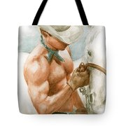 Cowboy Watercolor Tote Bag