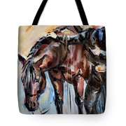 Cowboy With His Horse Tote Bag