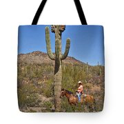 Cowgirl And The Crested Saguaro Tote Bag