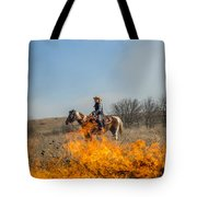 Cowgirl Watching Over Burn Tote Bag