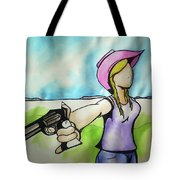 Cowgirl With Gun Tote Bag