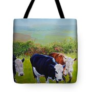 Cows And English Landscape Tote Bag