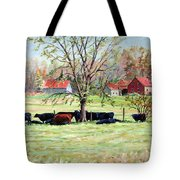 Cows Grazing In One Field  Tote Bag