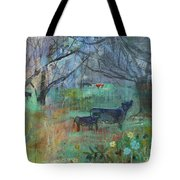 Cows In The Olive Grove Tote Bag