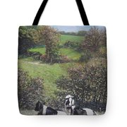Cows Sitting By Hill Relaxing Tote Bag