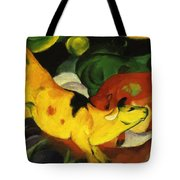 Cows Yellow Red Green 1912 Tote Bag