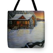 Cozy Winter Cabin  Tote Bag