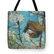 Crabapple Chickadees Tote Bag