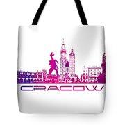 Cracow City Skyline Purple Tote Bag