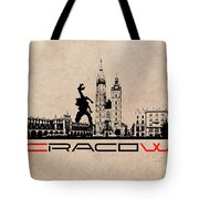 Cracow Skyline Black Tote Bag