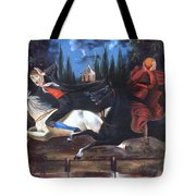 Crane And Horseman Tote Bag